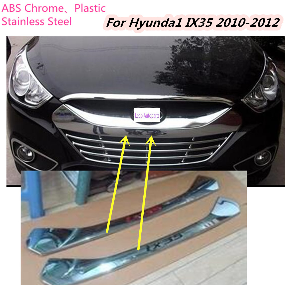 hot sale For Hyundai IX35 2010 2011 2012 Car body cover Bumper engine ABS Chrome trims Front Grid Grill Grille frame edge 1pcs car styling cover bumper engine abs chrome trim bottom front grid grill grille edge lamp frame panel 1pcs for vw aud1 a4l 2017