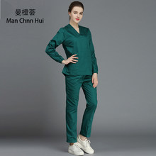 100%cotton medical clothes scrub suit doctor nurse short sleeve uniform dental dental clinic pet doctor beauty salon overalls(China)