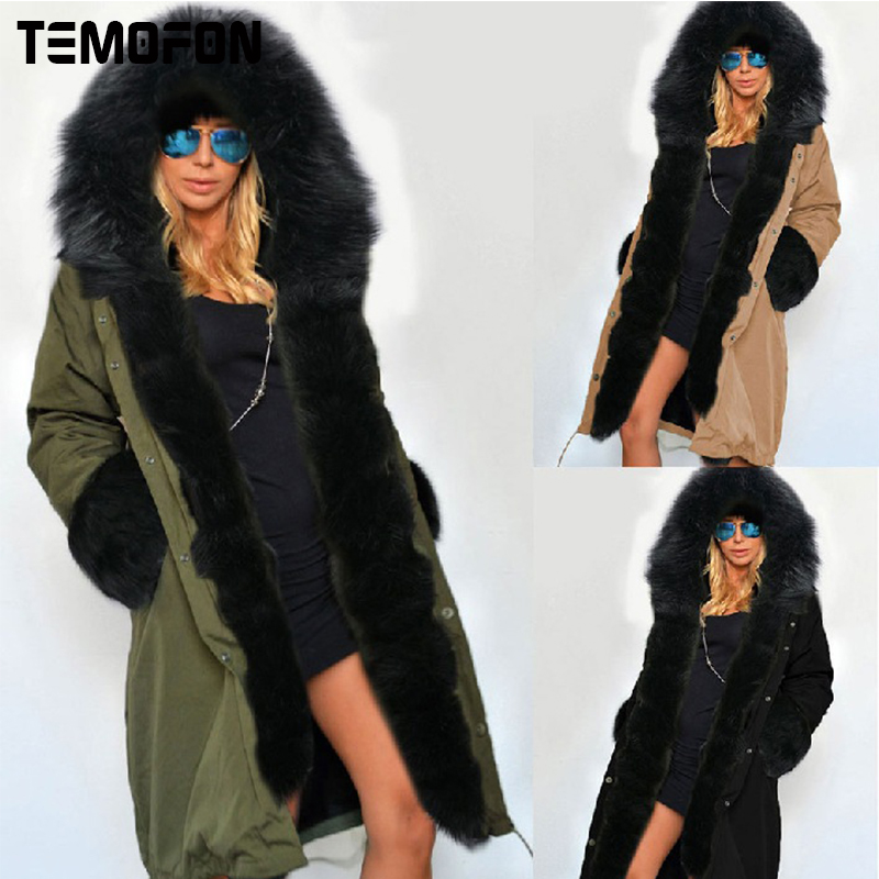 TEMOFON Winter Jacket Coat Women Long Fur Parka Basic Hooded Cotton Jackets Warm Outwear Solid Zipper Casual Female Coats EJT604 muxu new autumn winter coat women basic jacket coat female slim hooded cotton coats casual silver long sleeve ladies jackets