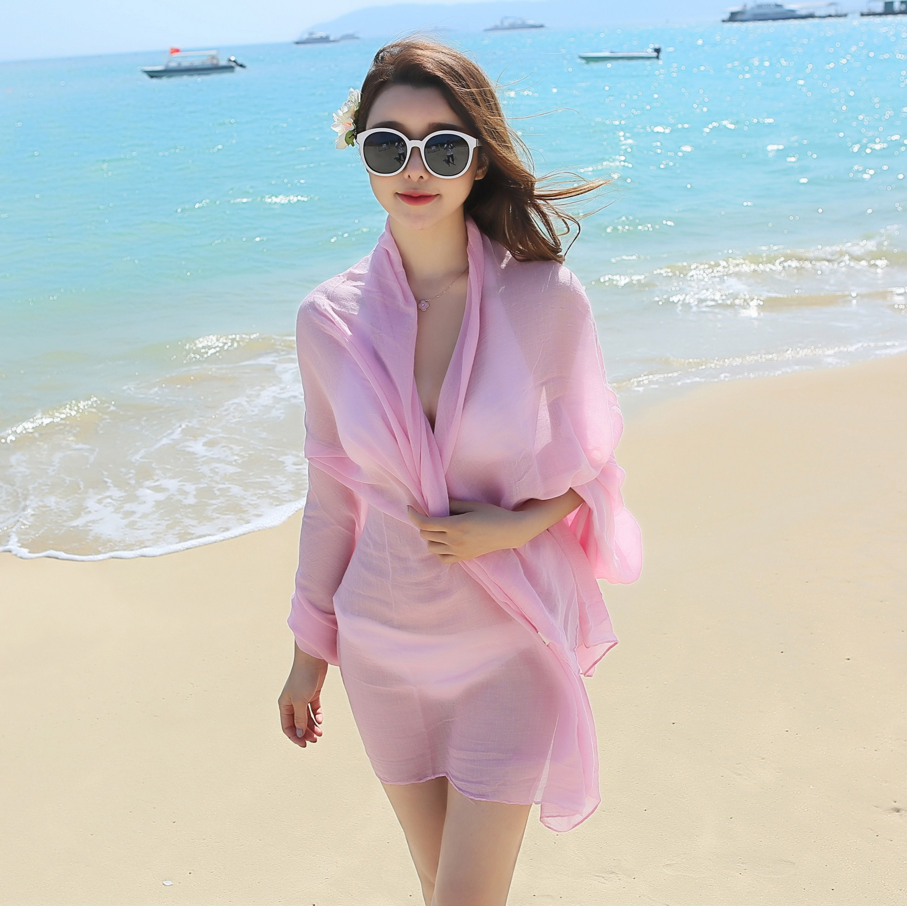 2019 High grade chiffon ultra-thin breathable tourist sunscreen essential boutique   Scarf   Women foulards shawl 150*170cm