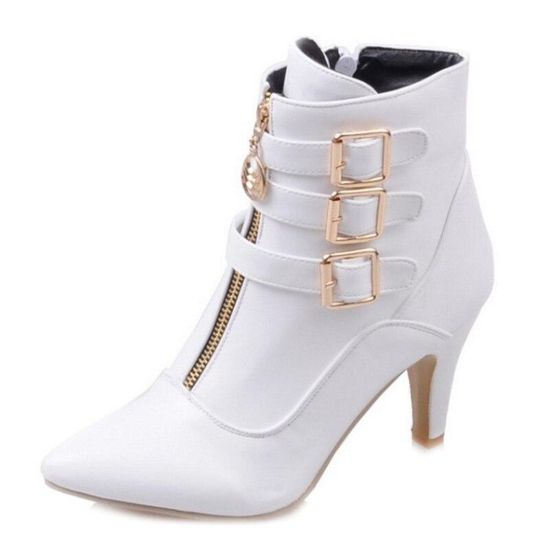 Cool Chunky Chaussures Femme Noir Bottes 8 Q059 Courte Filles Toe Boucle Moto Taille blanc Point Cm Talon Zip Sjjh Grande Mode rouge Avec Cheville LqUVGSMzp