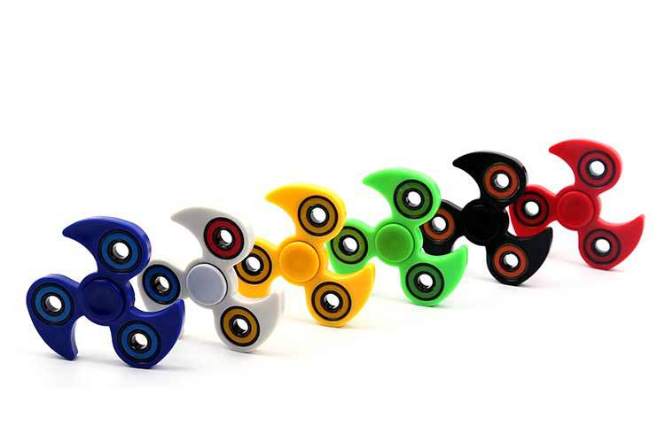 6 Colors Fidget Spinner Long Time Anti Stress Toys Ceramics Beads Tri Spinner Plastic EDC Hand