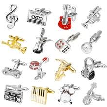 18 видов конструкций запонки «гитара» Музыка Дизайн Музыкальная Нота Запонки пианино двигаться Для мужчин t запонки, мужские украшения Abotoadura