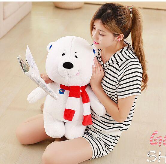 Petit mignon ours en peluche blanc jouet grand foulard ours poupée cadeau environ 60 cm 2696