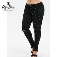 AZULINA Plus Size Shredding Beading Frayed Jeans Skinny Black Pencil Pants Casual Five Pockets Zipper Fly Denim Pants Trousers