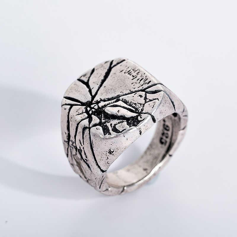 Vintage Punk Rock męskie pierścionki Crack osobowość prawna indywidualność sygnet dla mężczyzn Party biżuteria dzień ojca prezenty
