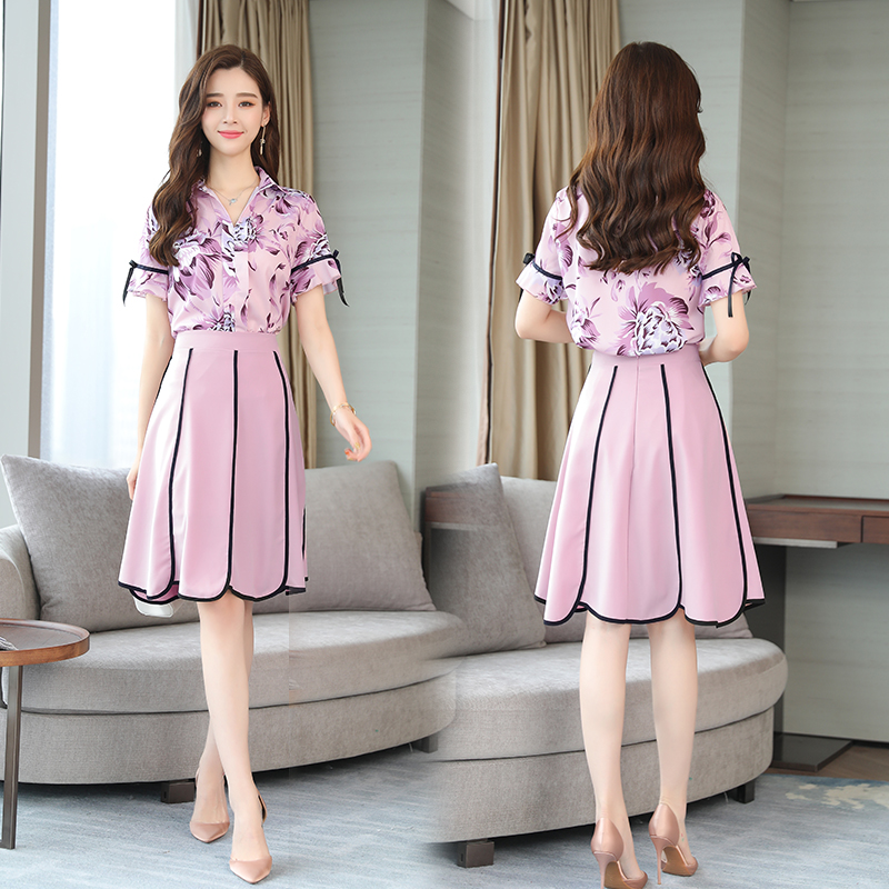 summer new pink printing blouse top & skirt two pcs clothing set women chiffon dress sui ...