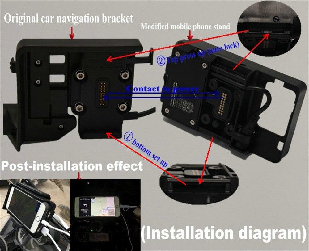 Мобильный телефон навигации кронштейн USB зарядки телефона для BMW R1200GS LC Приключения 13-17