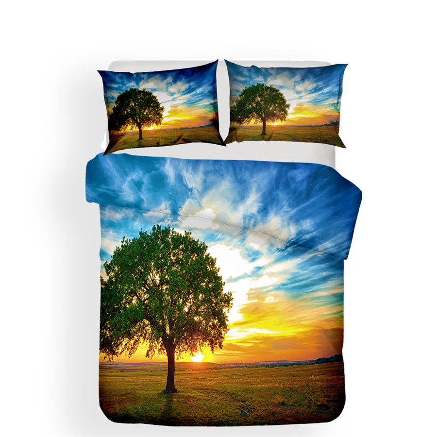 Image 2 - Bedding Set 3D Printed Duvet Cover Bed Set Landscape Tree Home Textiles for Adults Lifelike Bedclothes with Pillowcase #FG04-in Bedding Sets from Home & Garden