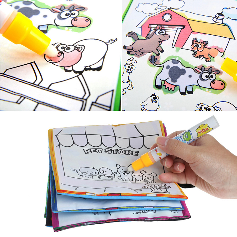 2017 kids magic water drawing book with pen animal coloring water painting cloth mar2_30china