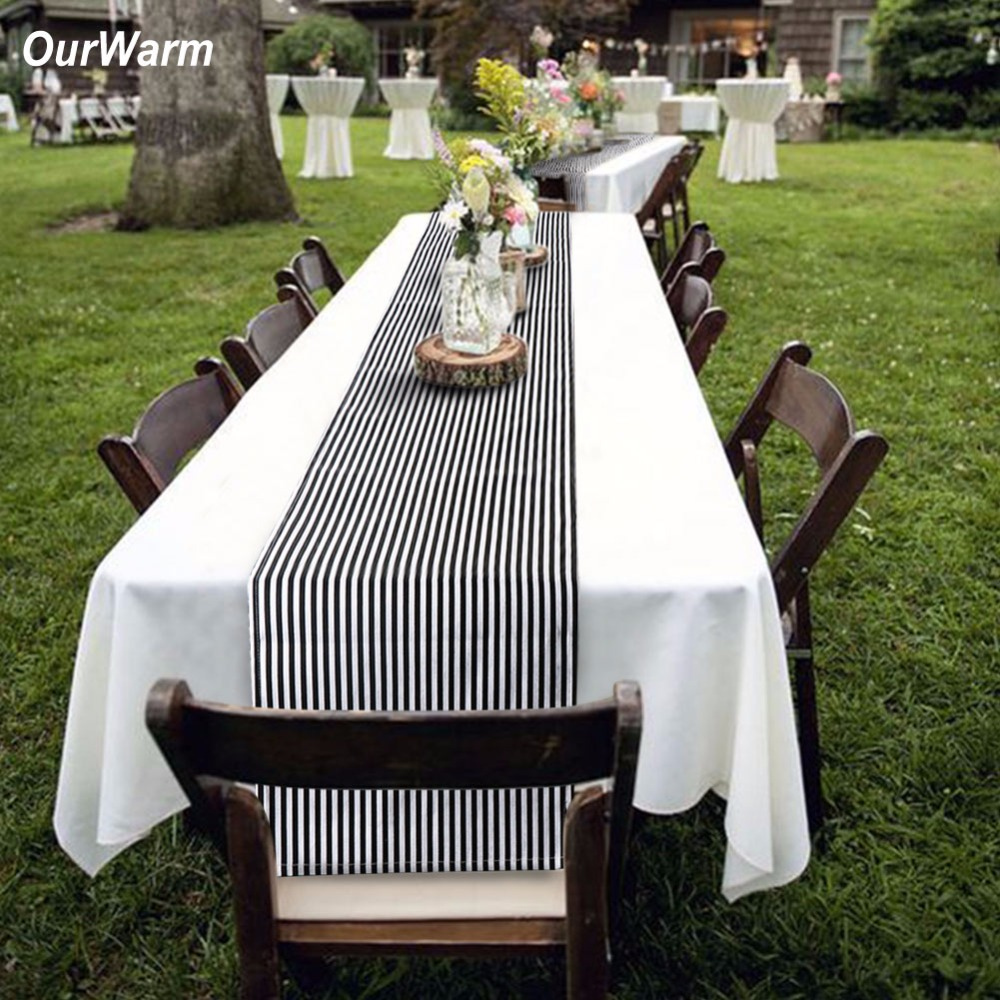 Ourwarm Black & White Striped Table Runner para decoración del hogar 35 * 182 cm Moderno Tope de mesa geométrica Hotel Bed Runner Party Supplier