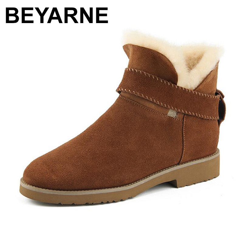 BEYARNE High quality genuine leather Fur one snow boots thick heel ankle boots 2017 fashion martin women boots Warm cotton women