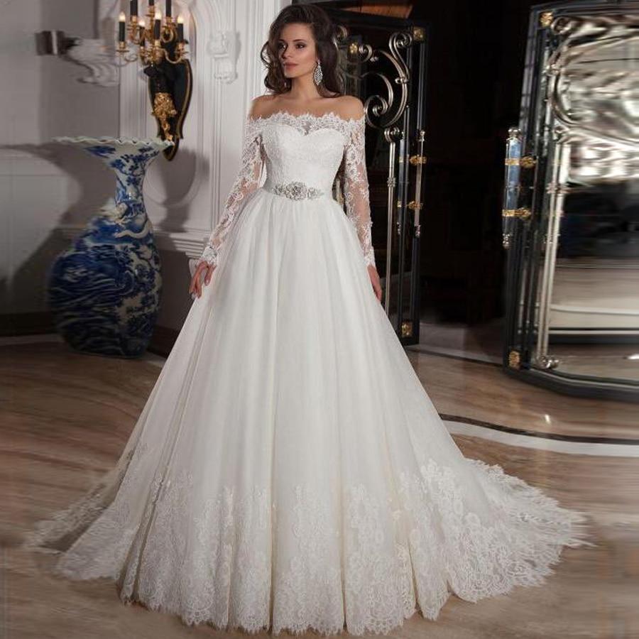 Vintage Off The Shoulder Long Sleeves Lace A-line Wedding Dress With Crystal Belt Button Back Court Applique Train Bridal Dress