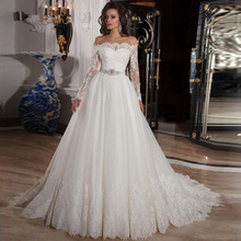 Vintage Off the Shoulder Long Sleeves Lace A line Wedding Dress with Crystal Belt Button Back Court Applique Train Bridal Dress