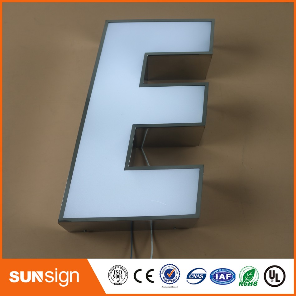 Custom LED Lighted Stainless Steel Signs Outdoor Signage