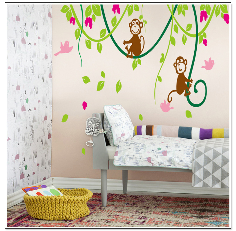 bedroom background cartoon living stickers wall decoration monkey children tree climbing pvc sticker zoom owl butterfly decor decal