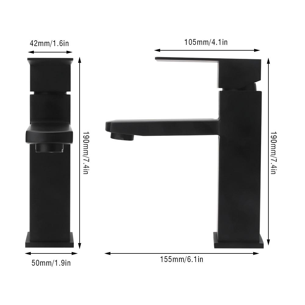 Robinet de lavabo en acier inoxydable noir mat mitigeur de robinet d'eau froide chaude robinet mitigeur de salle de bains robinet de lavabo robinet de douche - 3
