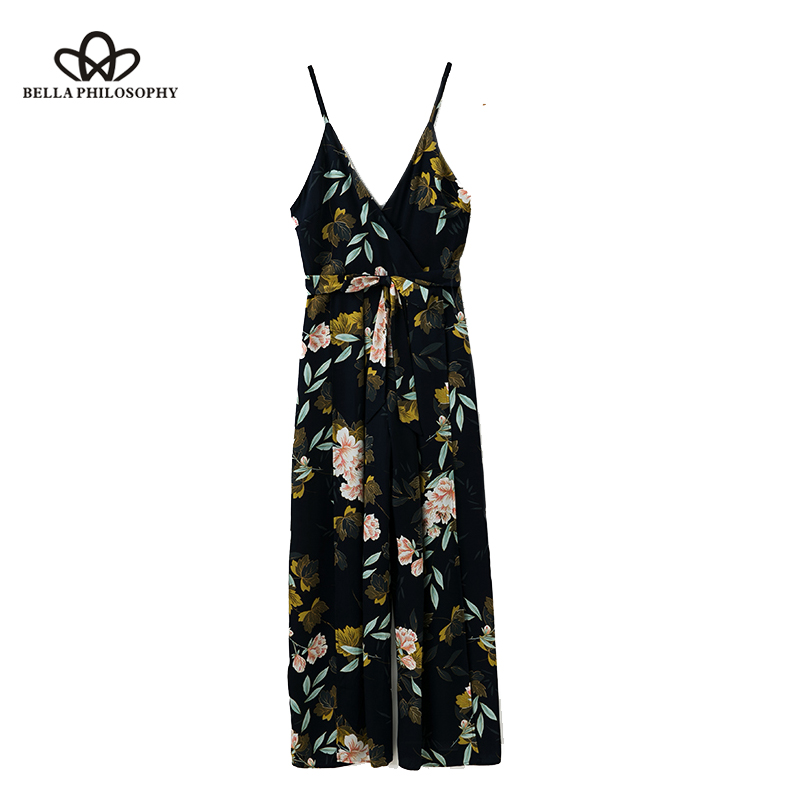 Bella Philosophy summer beach holiday women jumpsuits spaghetti strap female sexy female rompers print lace up ladies jumpsuits