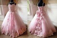 Розовый на шнуровке задней Кристаллы Стразы Принцесса конкурс красоты платье бретельках Милая Цветок платья для девочек с бантом