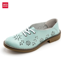 WeiDeng Genuine Leather Ankle Boots Motorcycle Brogue Lace Up Classic Women Winter Fashion Retro Flats Shoes Size Plus