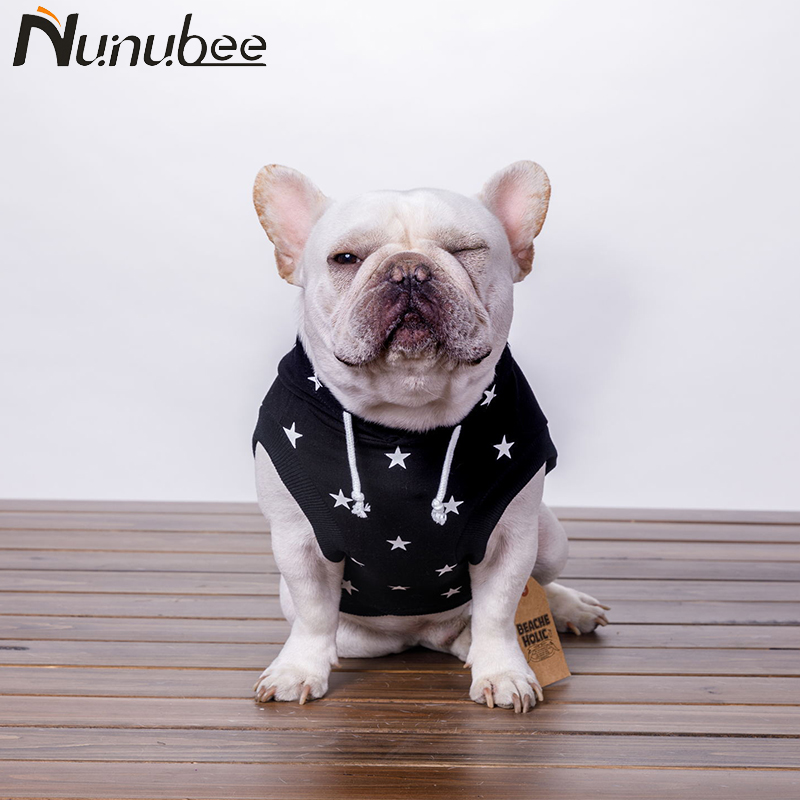 Nunubee Black Cotton Dogs Coat Hoodies Clothes French Bulldog Stars Pattern Dog Costume XS-FB Autumn And Winter ...