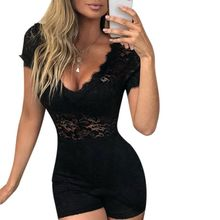 Womens Sexy V-Neck Sheer Floral Lace Bodysuit Short Sleeve Eyelash Trim Rompers Hollow High Waist Night Party Clubwear Playsuit цена 2017