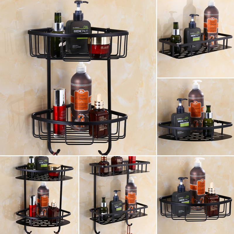 где купить Wall Mounted Antique Brass Black Bathroom Corner Shelf Bathroom Shelves ,Square Soap Basket Holder Bathroom Shampoo shelf дешево