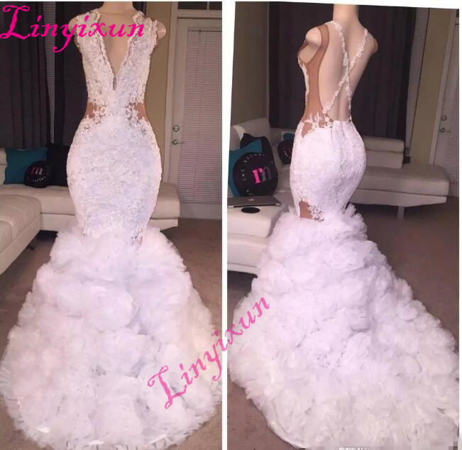 2018 Newest Designer Lace Mermaid   Prom     Dresses   Plunging V Neck Puffy Skirt Sexy Criss Cross Backless Long Train Evening   Dresses