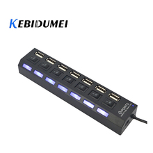 kebidumei Newest High Speed 7 Ports Hub USB 2.0 Hub with Switch LED Indicator 5Gbps For Laptop PC Windows XP Win7/8 Linux Mac OS