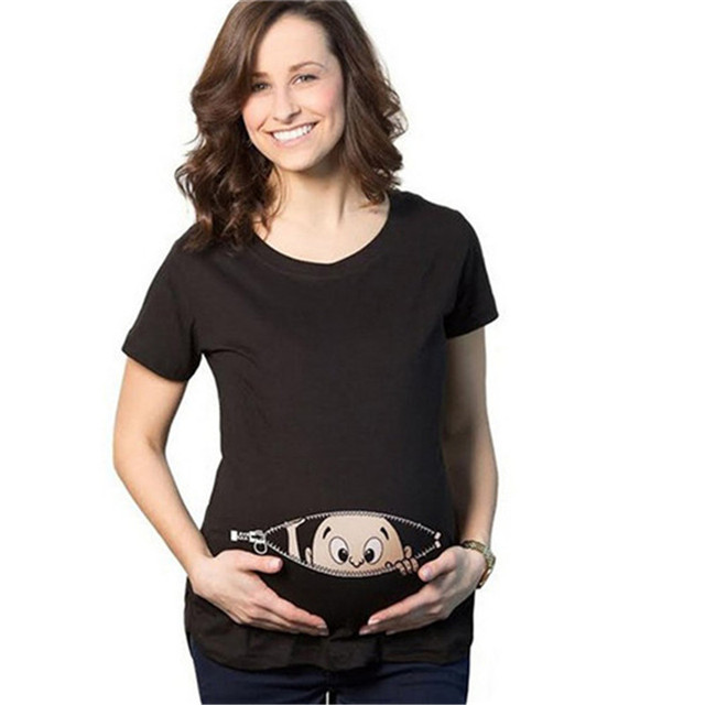 O-Neck Peeping Baby T-shirt for Pregnant Women