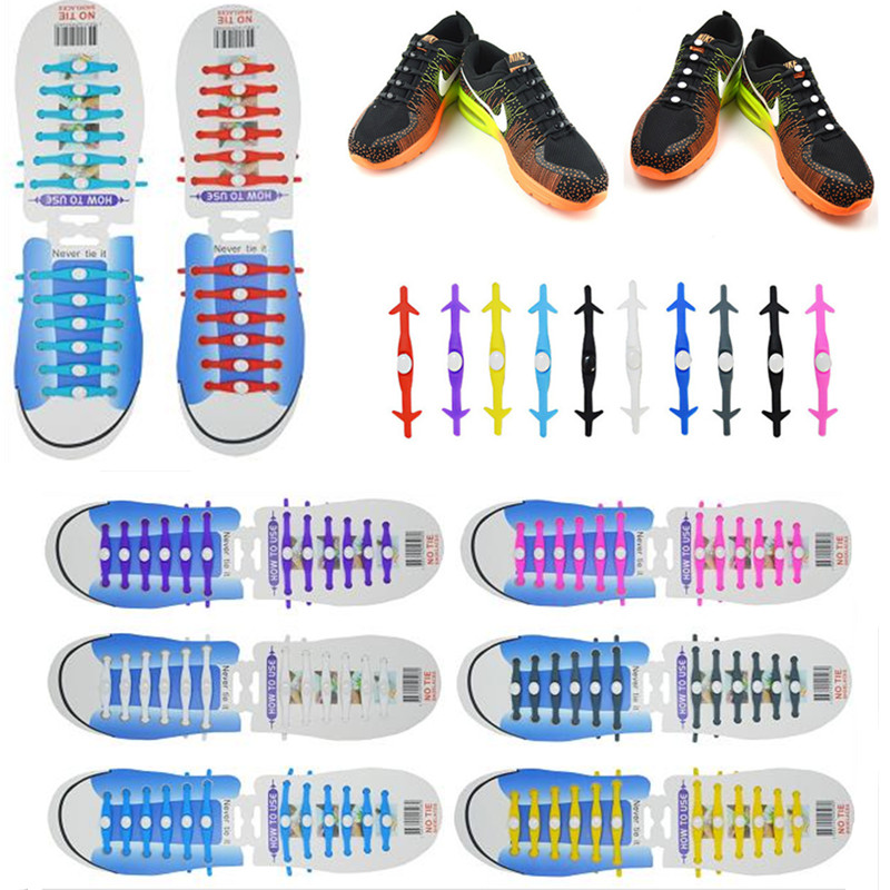 12Pcs/Set Fashion Unisex Women Men Athletic Running No Tie Lazy Shoelaces Elastic Silicone Shoe Lace Sneaker Strap Shoes Laces 16pcs set high quality innovation lazy elastic silicone lace men and women universal free shoes with all the shoes th xdy