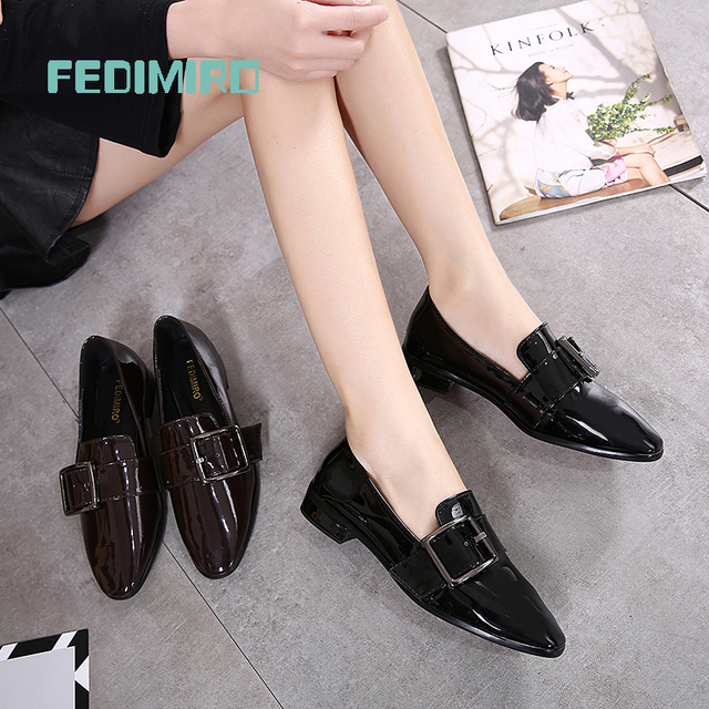 Brand FEDIMIRO Spring Oxford Shoes Women Patent Leather Pointed Toe Slip-on flat Loafers Casual Metal buckles Ladies Flats