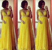 Ярко желтые короткие рукава шифоновые длинные вечерние платья для беременных женщин для официального торжества выпускного вечера платья И