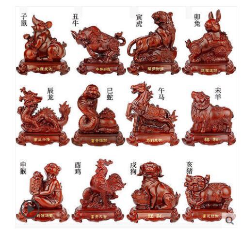 Appearance modeling animal sandalwood color to attract wealth desktop dec rat Bovine tiger snake Horse pig dog decorative crafts