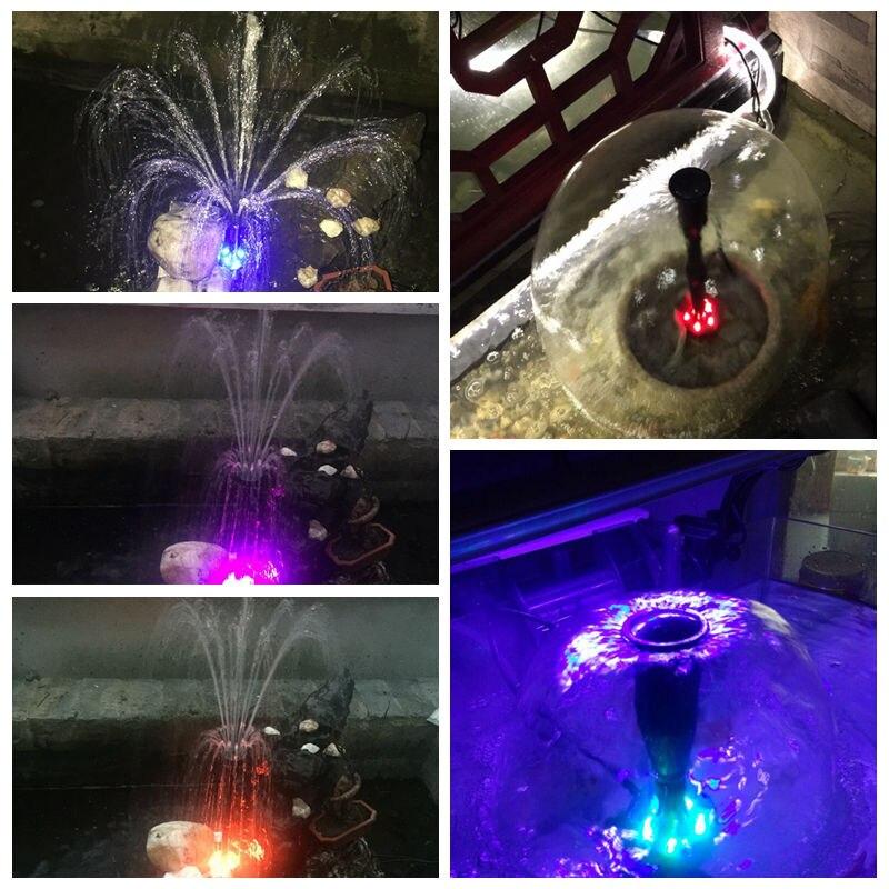 Ev ve Bahçe'ten Su Pompaları'de Akvaryum balık gölet LED dalgıç pompa 40 w 2000L/h bahçe çeşme makinesi değiştirilebilir renkli LED'da  Grup 3
