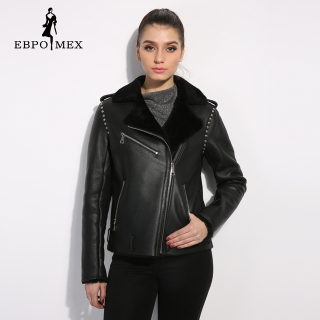 Black genuine Leather women fur coat Street style women winter ...