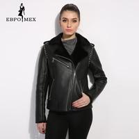 Black Genuine Leather Women Fur Coat Street Style Women Winter Jacket Female Leather Sheepskin Coat Short