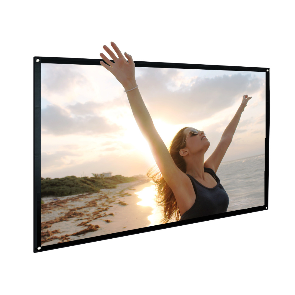 Portable Projector Screen Indoor Outdoor Lightweight Folding Movies Wrinkle Free 100 inch HD Projection Screen 3D Rear Front 24 dark gray gray white holographic rear projection screen transparent rear projector film indoor hologram advertising