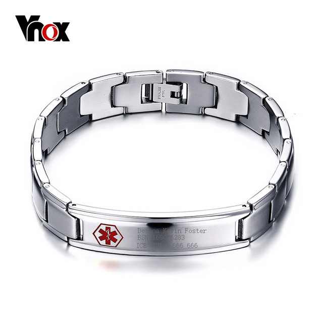 Vnox Men S Medical Alert Id Bracelet Bangle Jewelry Stainless Steel Metal 8 5inch Free Engraved
