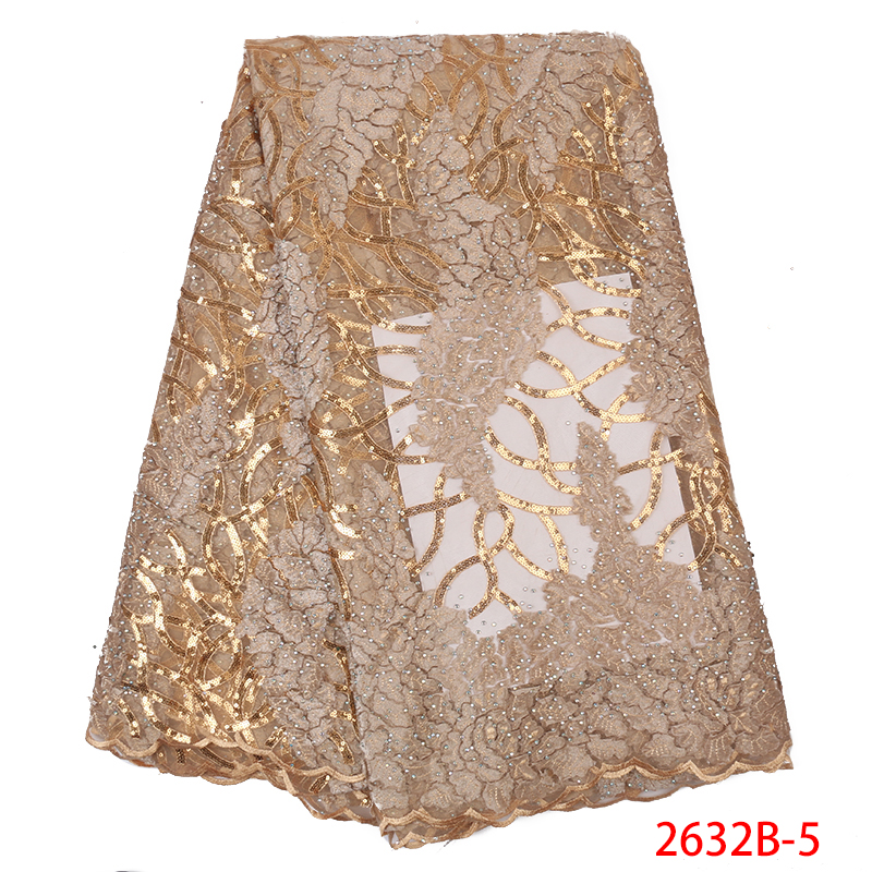 Luxury Gold Sequins Lace Fabrics French Lace Fabric with Stones High Quality African Tulle Mesh Lace