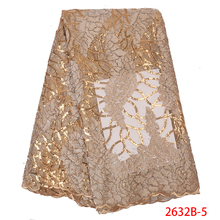 Luxury Gold Sequins Lace Fabrics French Lace Fabric with Stones High Quality African Tulle Mesh Lace for Wedding Party APW2632B
