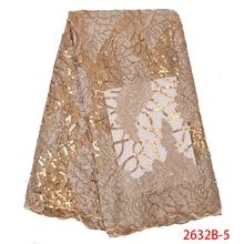 Luxus Gold Pailletten Spitze Stoffe Französisch Spitze Stoff mit Steinen Hohe Qualität Afrikanische Tüll Mesh Spitze für Hochzeit Party APW2632B