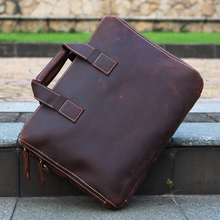 ALAVCHNV European and American business men 's shoulder Messenger bag crazy horse leather manual retro briefcase 39000