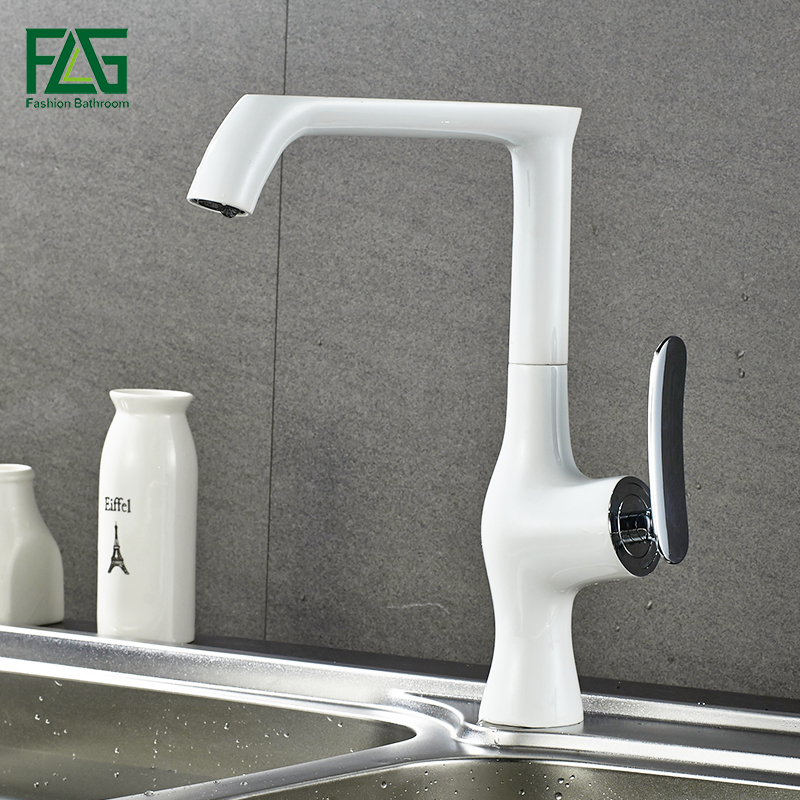 FLG Kitchen faucet white water tap cold and hot Sink faucets basin sink mixer 360 degree rotating brass faucet 676-33W flg brass kitchen faucet mixer cold and hot kitchen tap chrome single hole water tap kitchen sink 674 33c