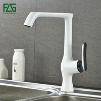 FLG Kitchen Faucet White Copper Water Tap Cold Hot Sink Faucet Basin Sink Mixer 360 Degree