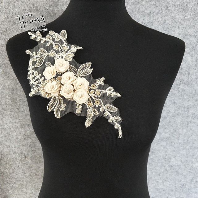 High quality Embroidered Lace Neckline Neck Collar Trim Bridal Wedding  dress Sewing Applique Guipure Floral Lace 183b32b138d8