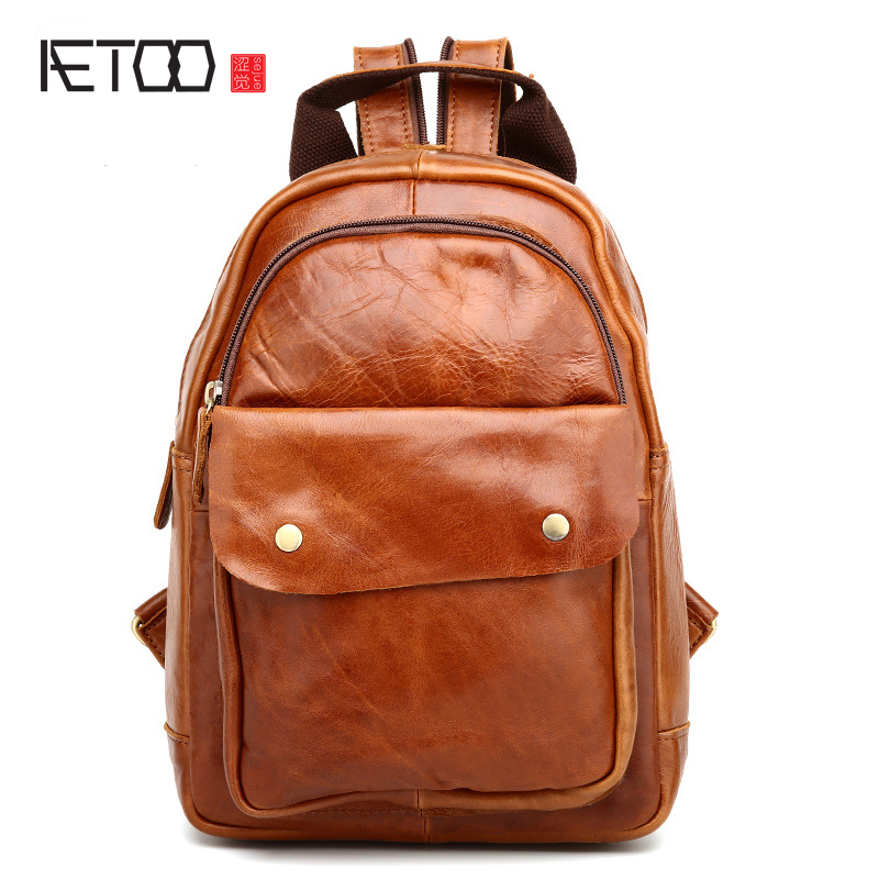 AETOO New retro mad horse leather shoulder bag leather backpack chest bag head cowboy female bag