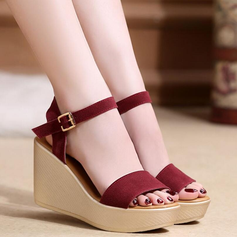 D&Henlu Lady Shoes Women Sandal Ankle Strap Sandals High Heel Wedges Shoe For Women Summer Sandals Sexy sandalias plataforma 2018 summer new arrived strap design wedges women sandals peep toe comfort mid heel sexy lady sandal fashion student casual shoe