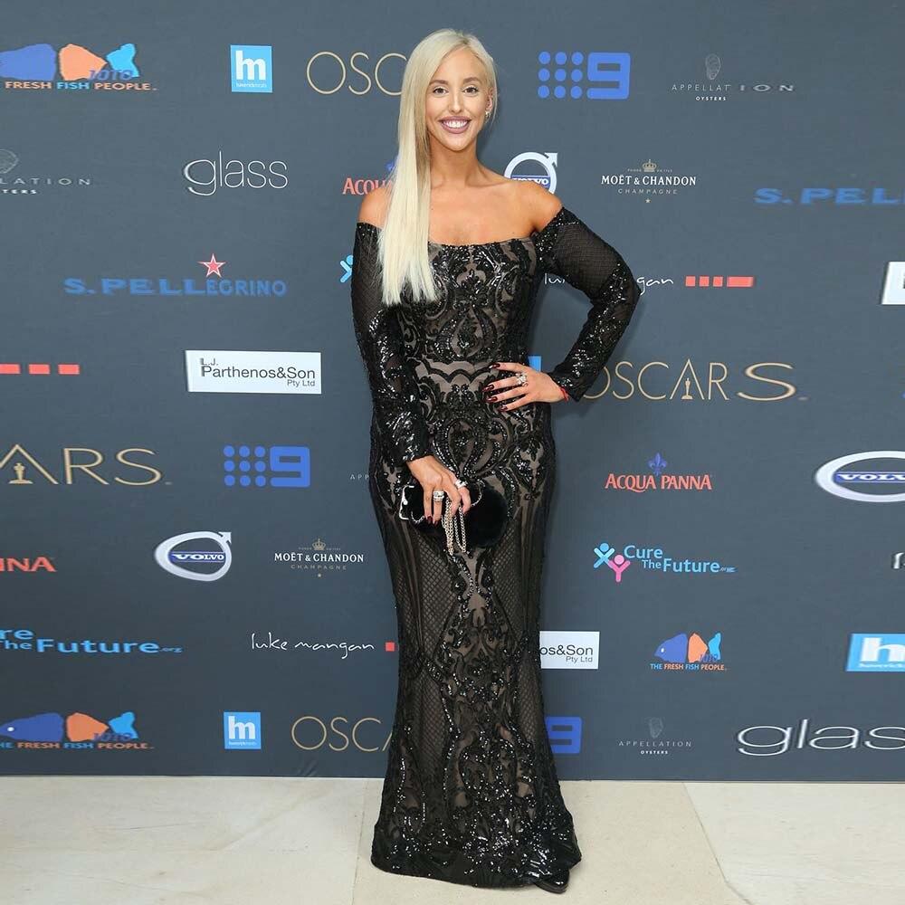 Paillettes noires manches longues robes de célébrité robe de soirée sirène longue épaule robe d'occasion spéciale