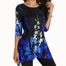 Stretch O Neck Elegant Women T-shirt Summer Casual Tunic Flower Print T Shirts Work Party Slim Tops Tee Plus Size T-Shirts S-5XL cold shoulder flower print tunic t shirt